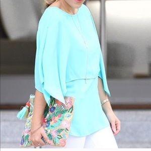 Mint double layer flowy blouse